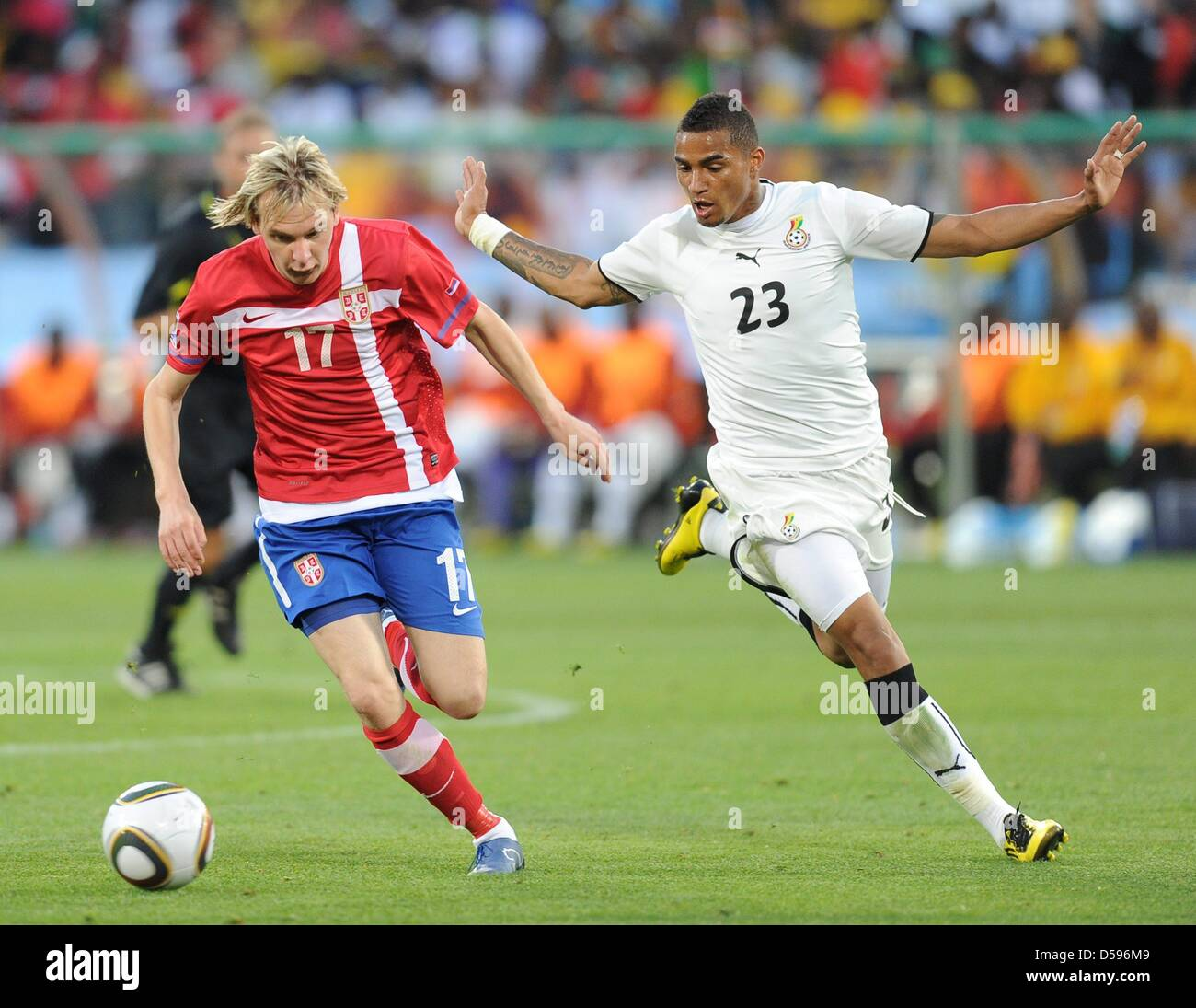 Ghana s Kevin Prince Boateng (R) vies for the ball with Serbia s Milos  Krasic during the 2010 FIFA World Cup group D match between Serbia and  Ghana at ... 9c69cabeda543