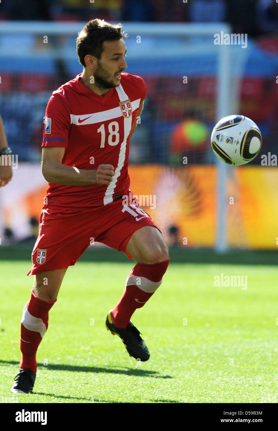 Serbia s Milos Ninkovic in action during the 2010 FIFA World Cup group D  match between Germany and Serbia at Nelson Mandela Bay Stadium in Port  Elizabeth 43231fbbb17f6