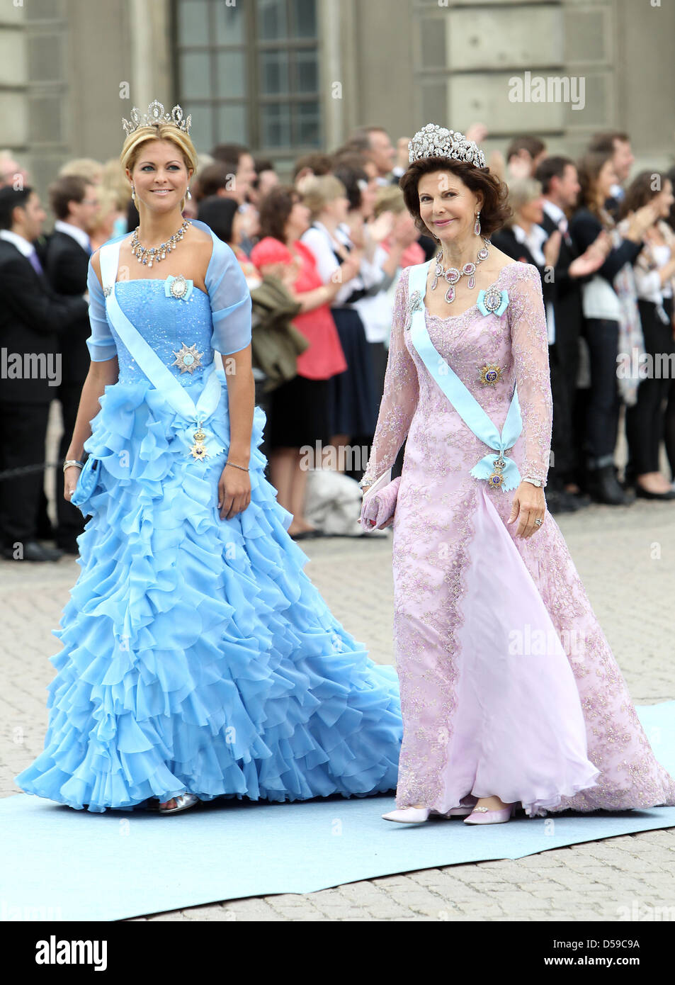 Princess Madeleine of Sweden (L) and Queen Silvia of Sweden arrive ...