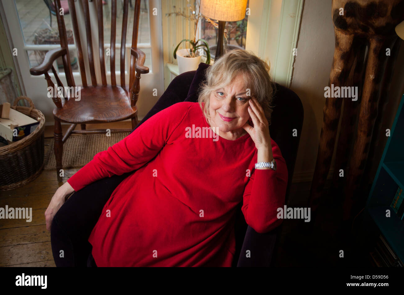 Author Sue Townsend at her home in Leicester, UK - Stock Image