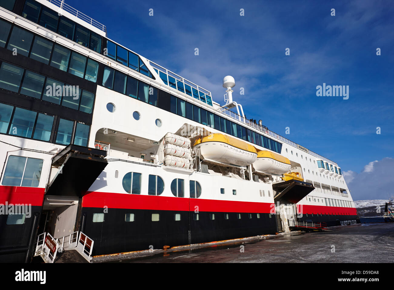 hurtigruten ship mv midnatsol berthed in kirkenes finnmark norway europe - Stock Image