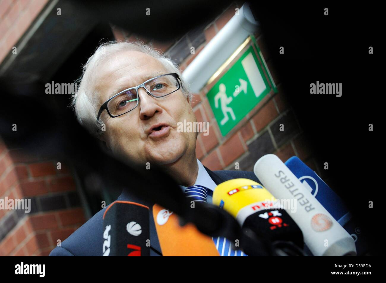 FDP deputy chairman Rainer Bruederle gives a quick interview at the party headquarters in Berlin, Germany, - Stock Image