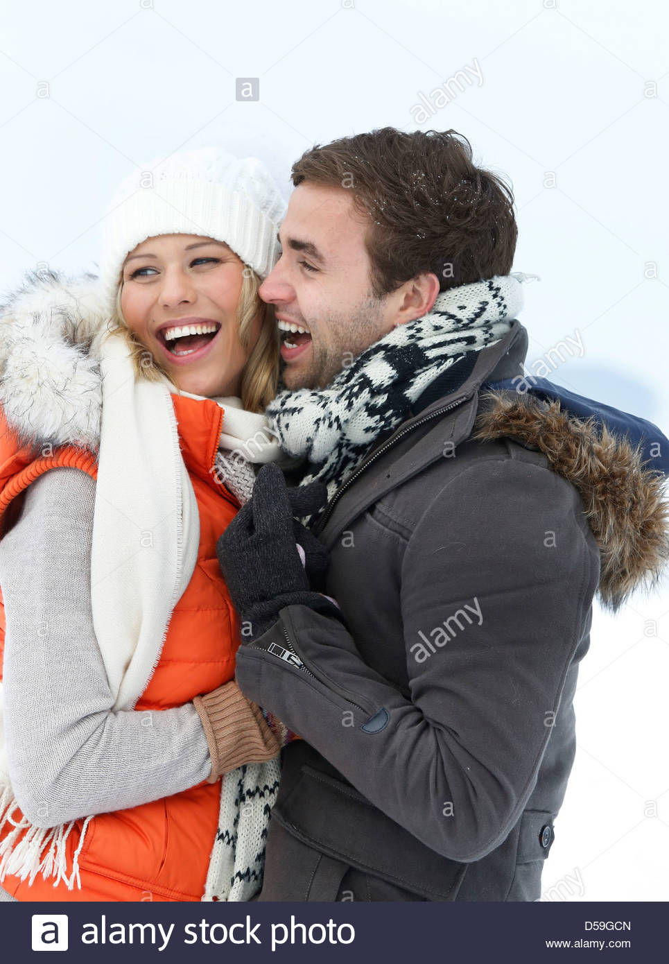 couple in winter landscape Stock Photo
