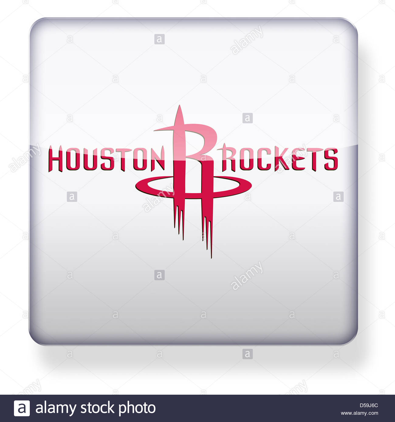 Houston Rockets logo as an app icon. Clipping path included. - Stock Image