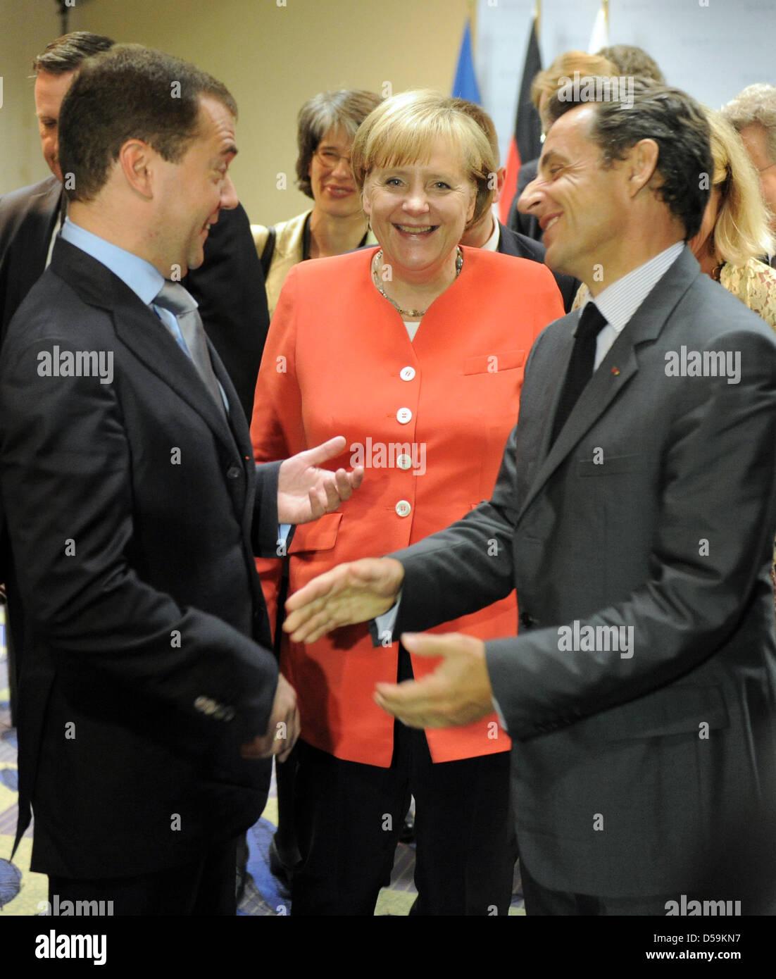 Der russische Präsident Dmitri Medwedew, Bundeskanzlerin Angela Merkel und der französische Präsident - Stock Image