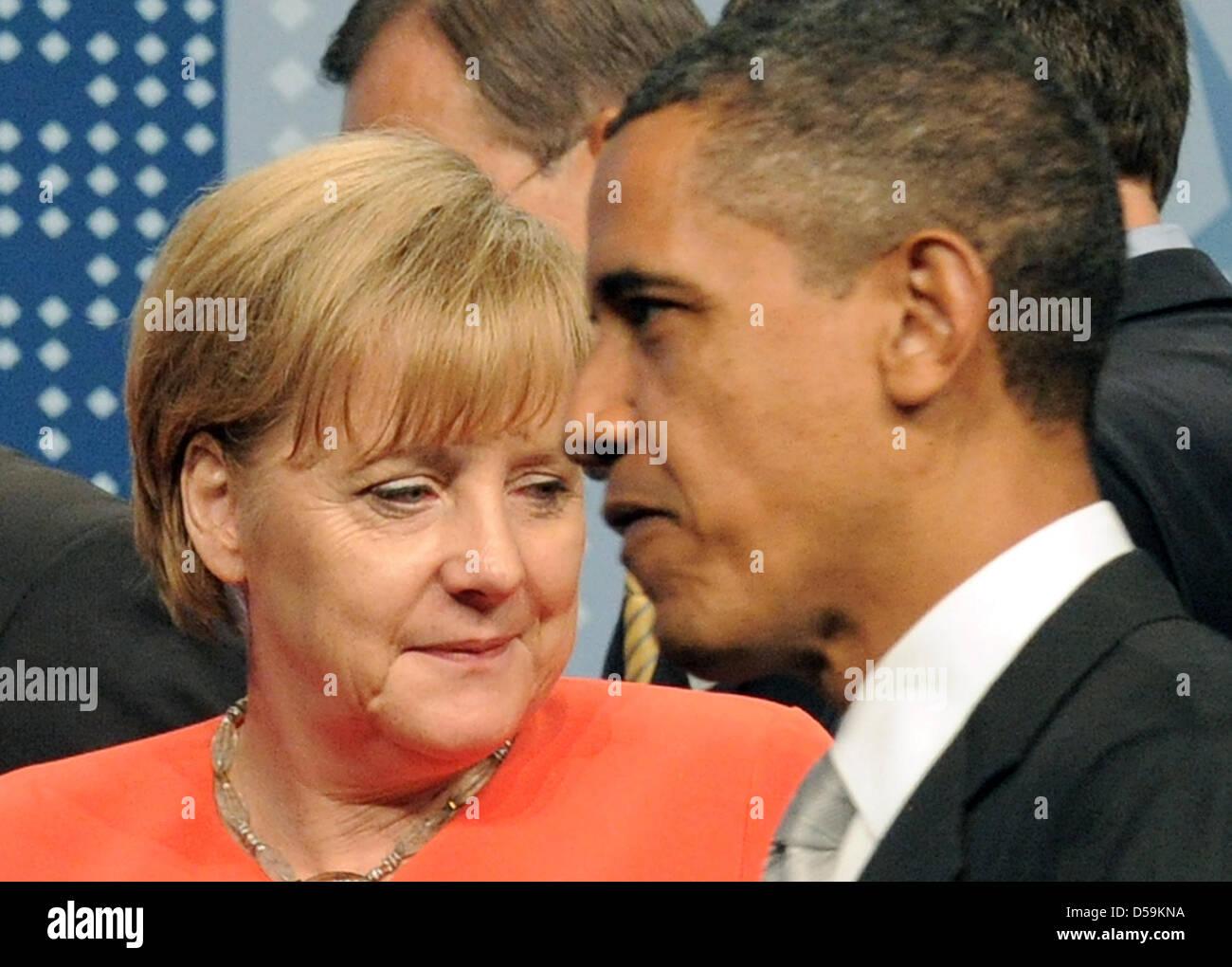 Bundeskanzlerin Angela Merkel und US-Präsident Barack Obama gehen am Sonntag (27.06.2010) in Toronto am Rande - Stock Image