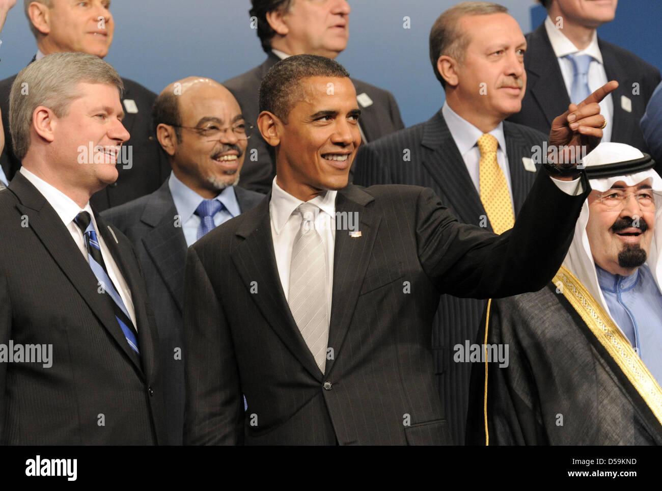 Der kanadische Ministerpräsident Stephen Harper (l-r) der äthiopische Premierminister Meles Zenawi, US - Stock Image