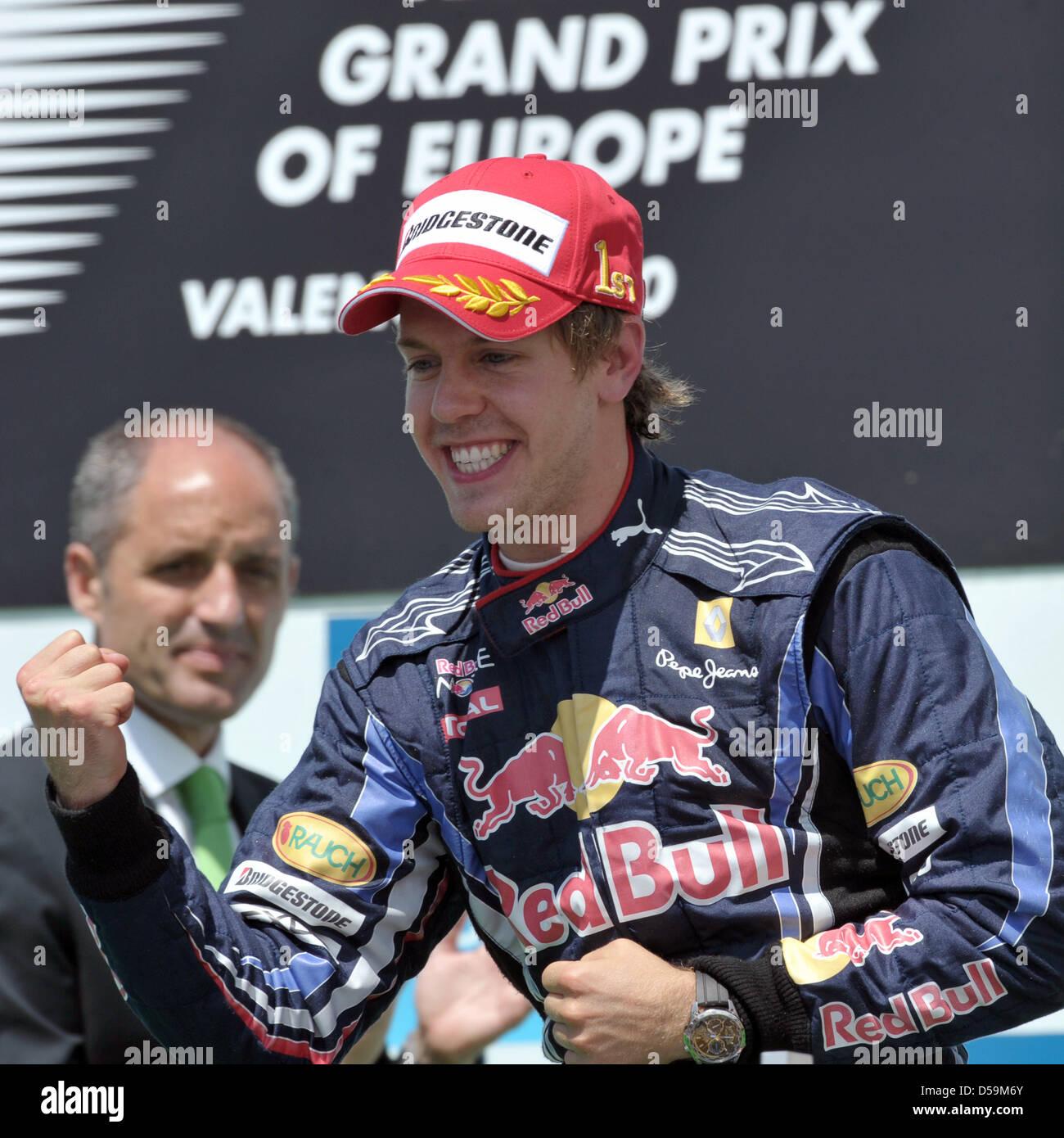 bbeb09fc German driver Sebastian Vettel of Red Bull Racing celebrates winning at the  street circuit of Valencia, Spain, 27 June 2010. The 2010 Formula 1 Grand  Prix ...
