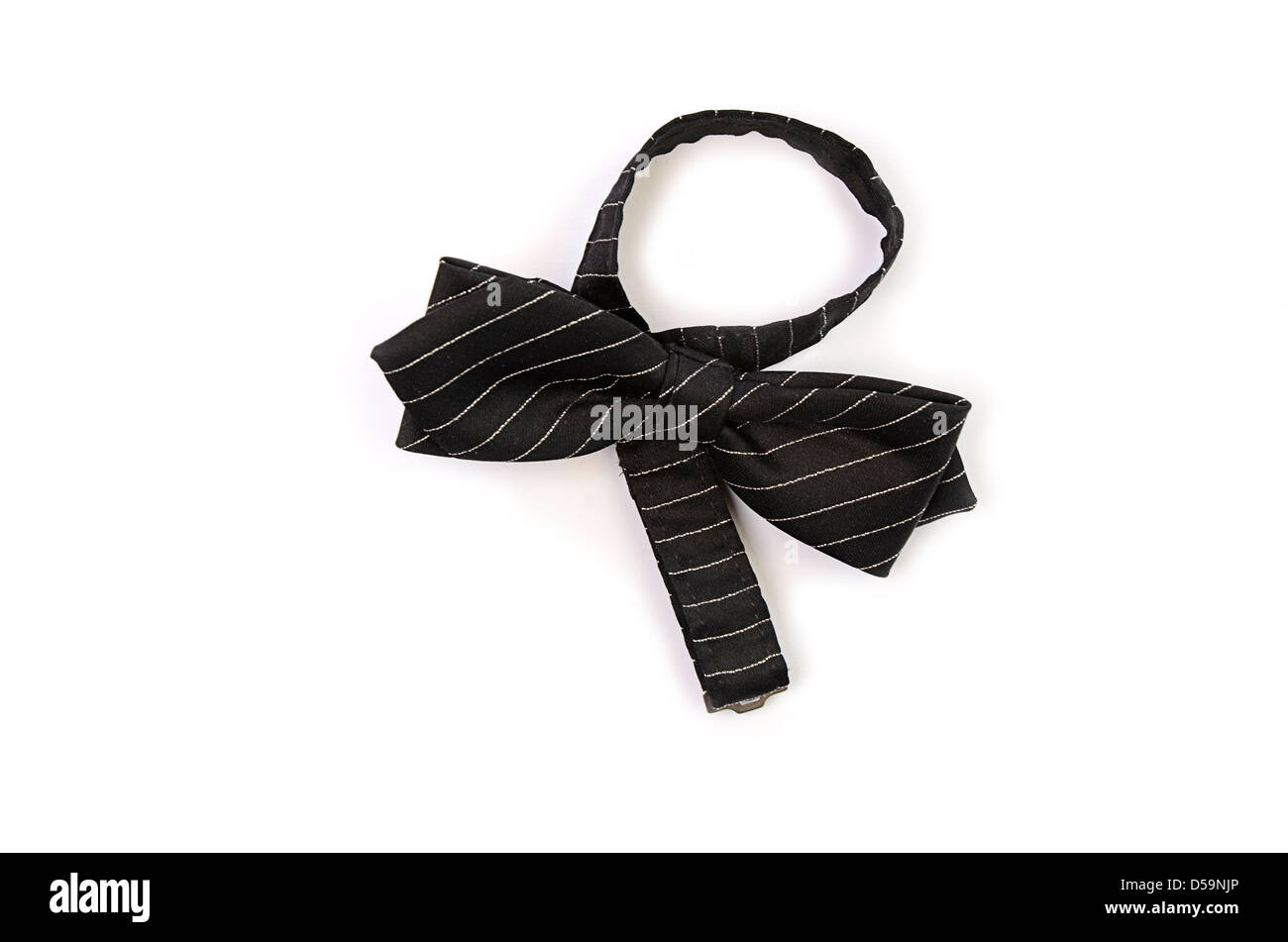 Smart black bow tie on a white background - Stock Image
