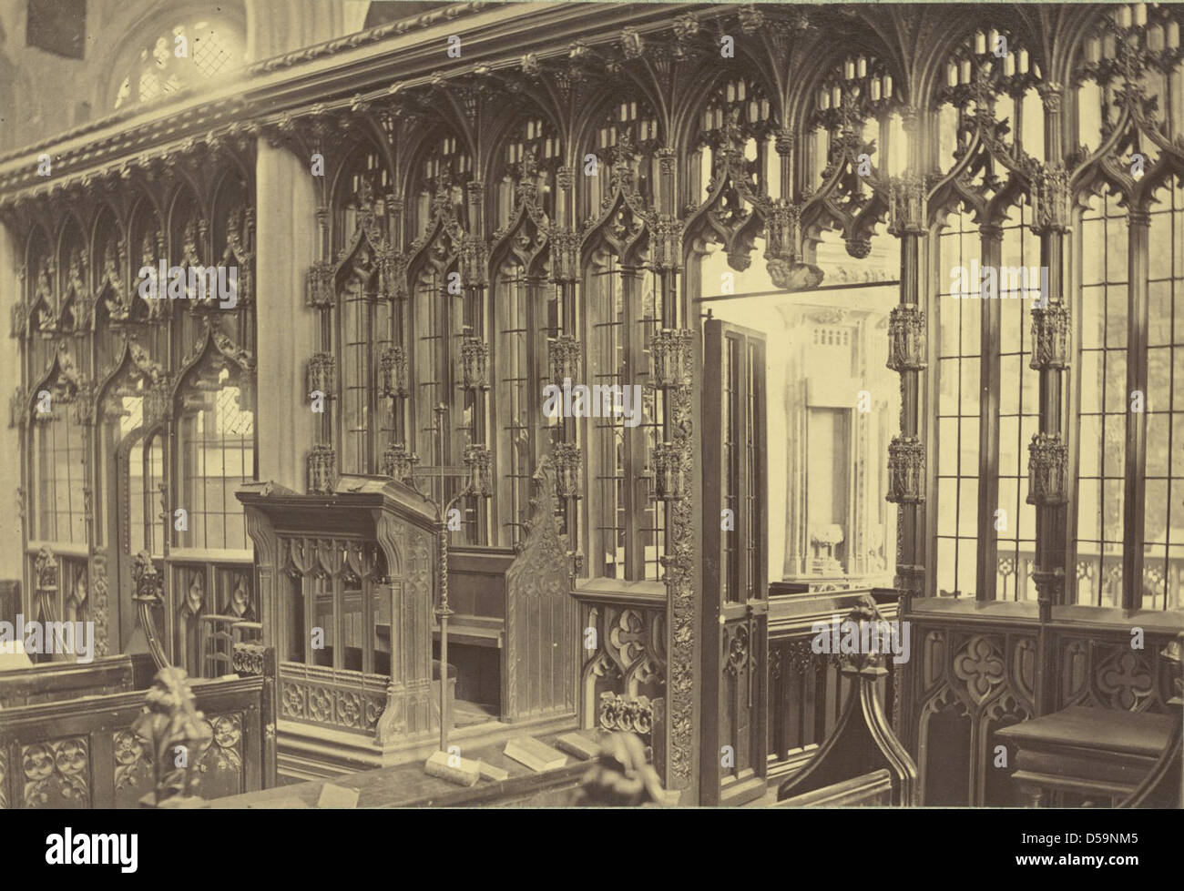 Untitled (Interior with choir screen, unidentified English church) Stock Photo
