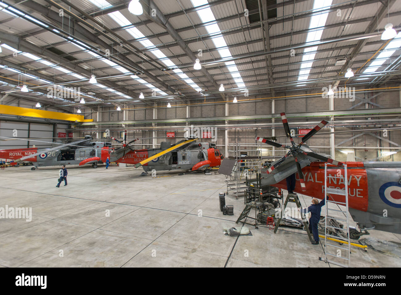 Sea King search and rescue helicopter pictured at RNAS Culdrose, in Cornwall, UK - Stock Image