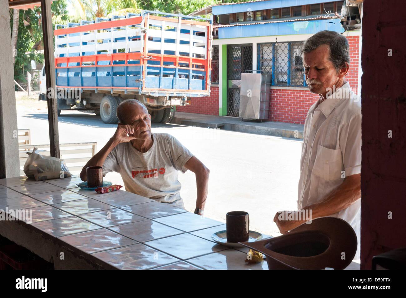 2 persons on a local café, Liberia, Nicoya, Costa Rica - Stock Image