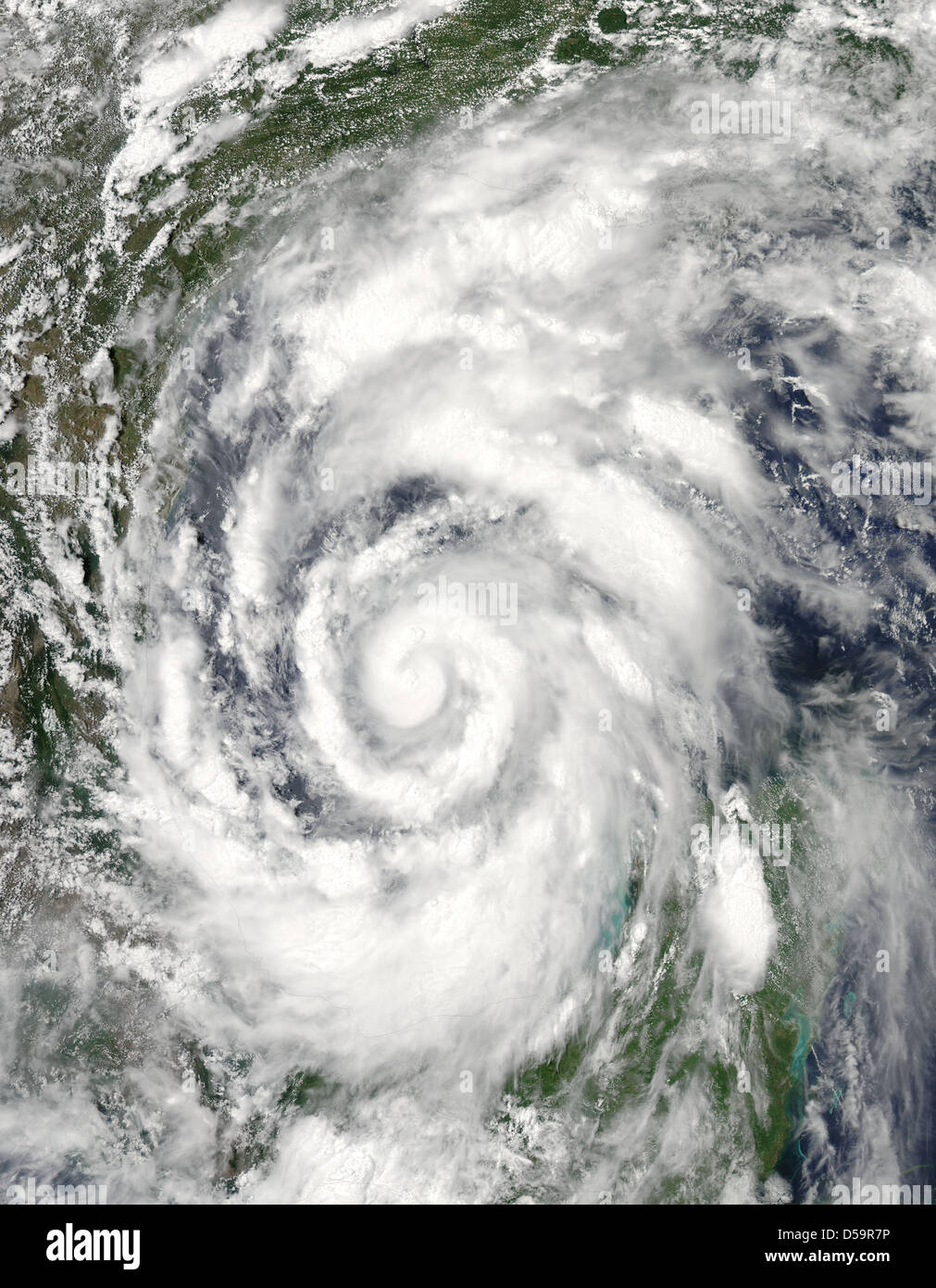 Handout photo from NASA made on 29 June 2010 showing Hurricane Alex as it strengthened over in the Gulf of Mexico - Stock Image
