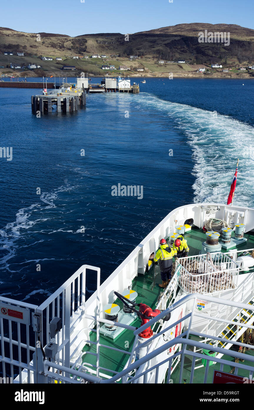 Caledonian MacBrayne Seamen on board the MV Finlaggan departing from Uig Isle of Skye Scotland UK Europe Stock Photo