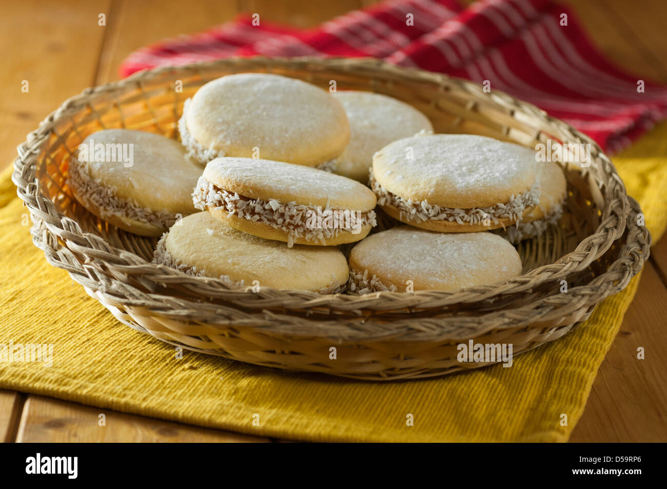 Alfajores South American cookies or biscuits Stock Photo