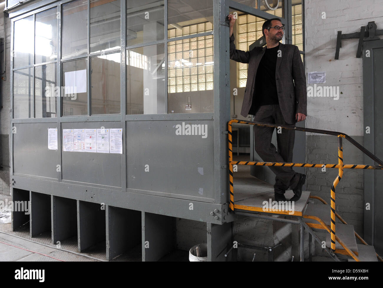 Oldenburg State Theatre director Markus Mueller sits at the construction its for the future theatre hall in Oldenburg, - Stock Image