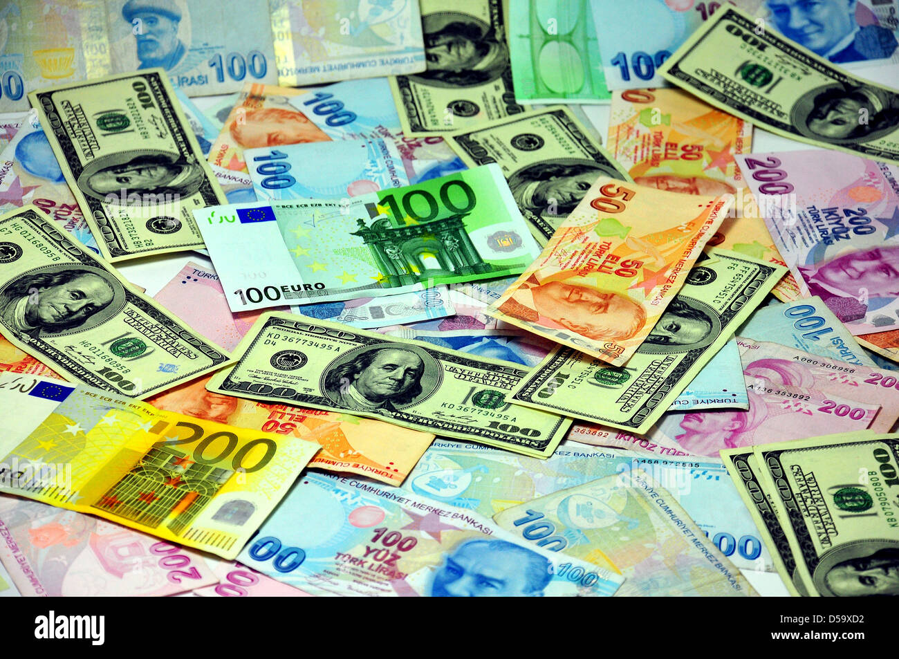 covered the floor of different currencies - Stock Image