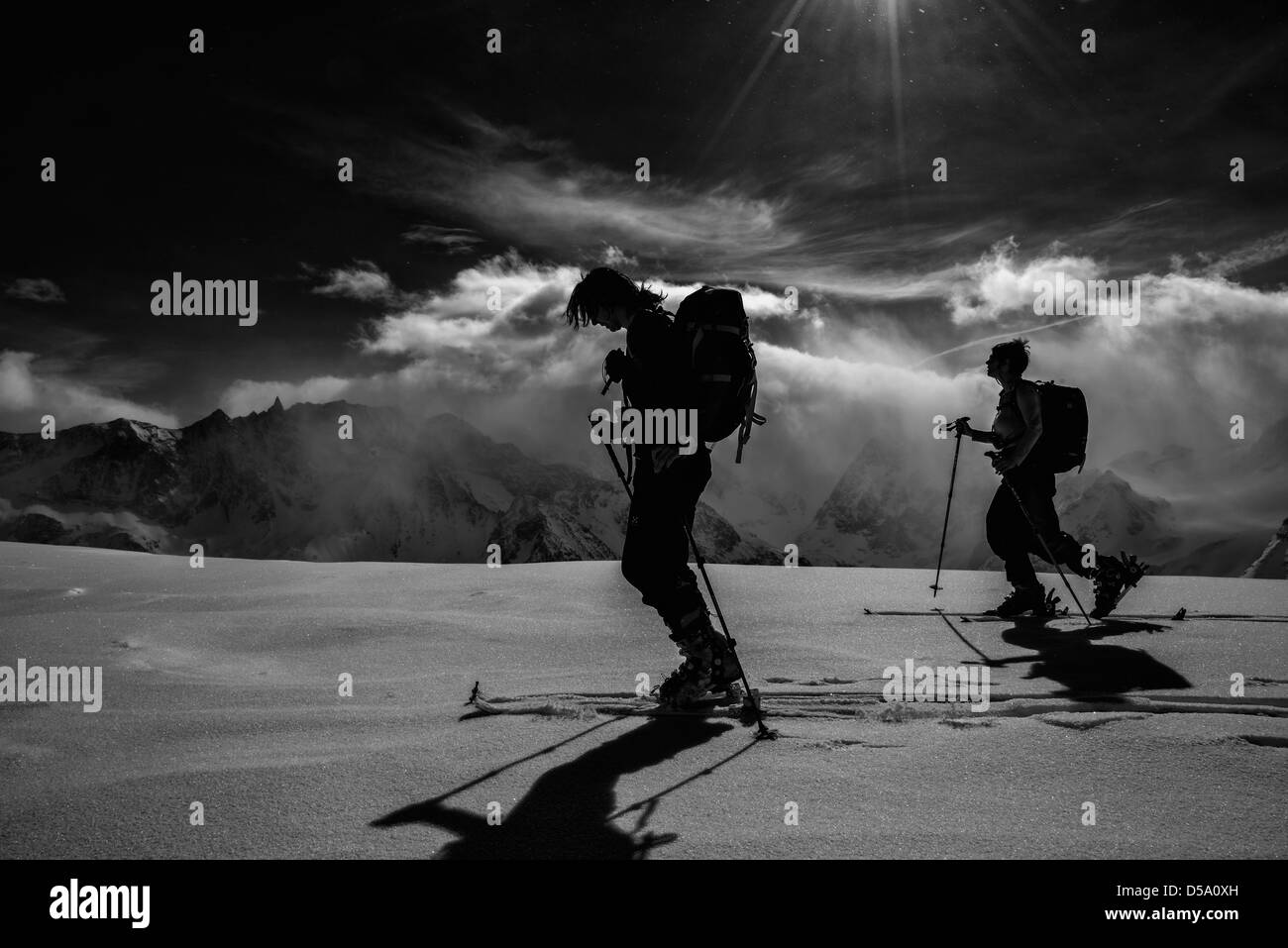 Ski touring above Arolla in Switzerland Stock Photo