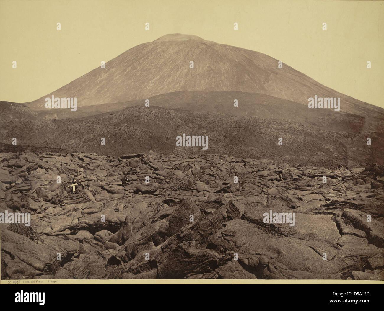 Lava Field and Mount Vesuvius Stock Photo