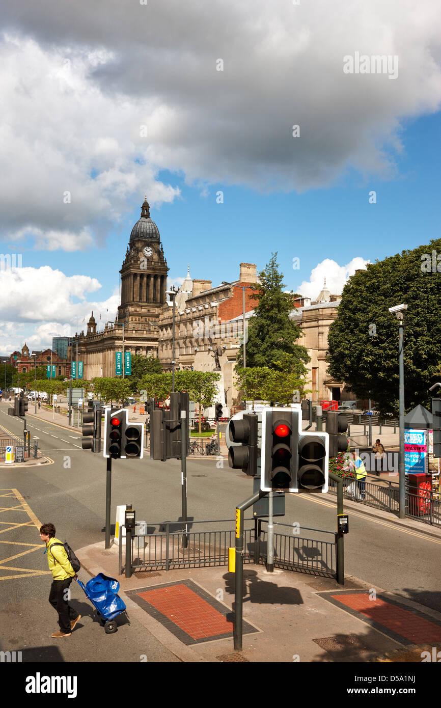 Looking up The Headrow towards Leeds Town Hall. - Stock Image