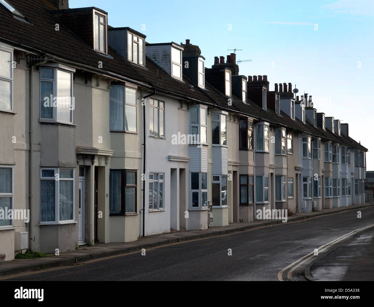 Terraced housing in Newhaven Stock Photo