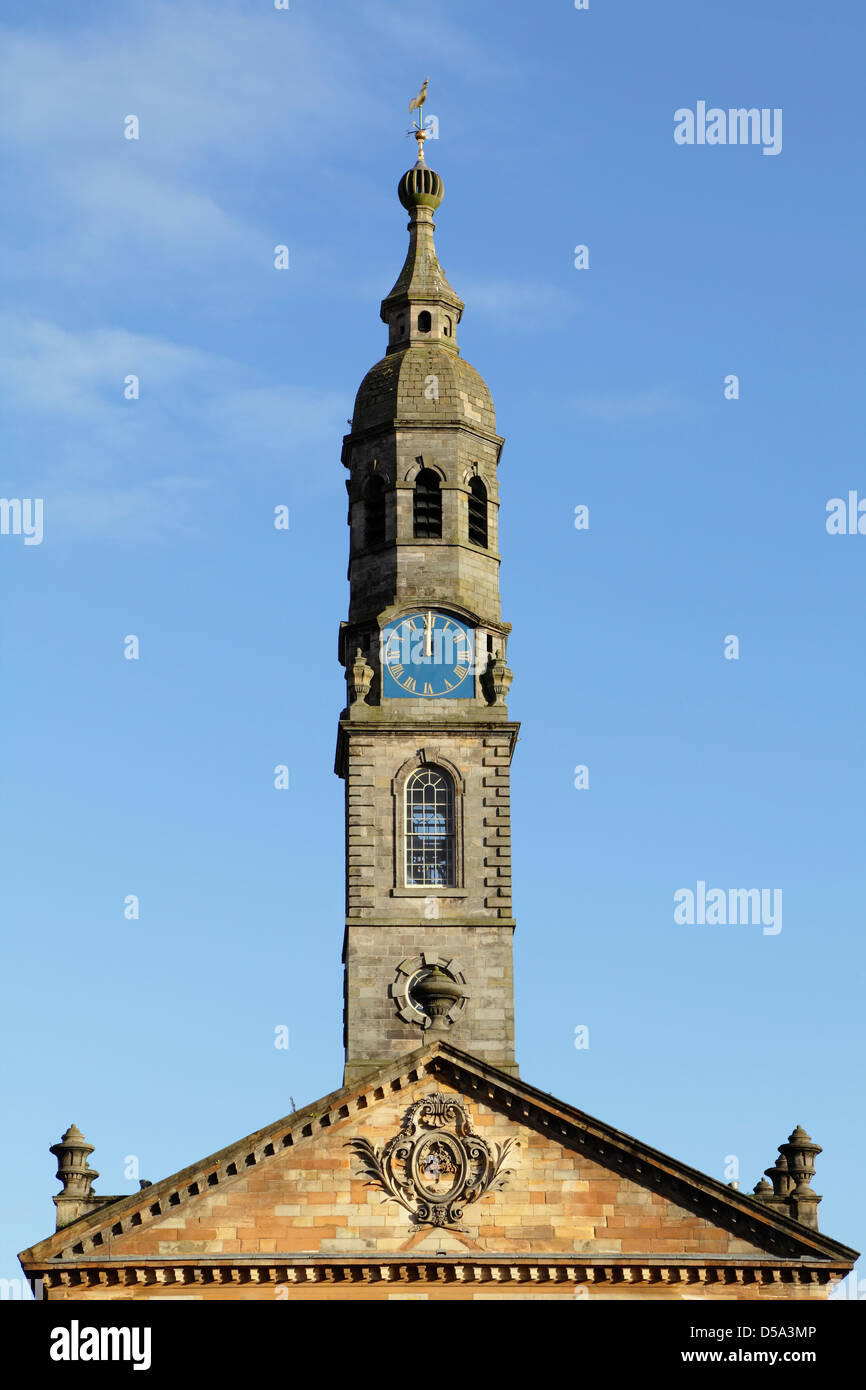 Steeple of Saint Andrew's In The Square, a restored 18th Century Church in the Merchant City area of Glasgow, - Stock Image