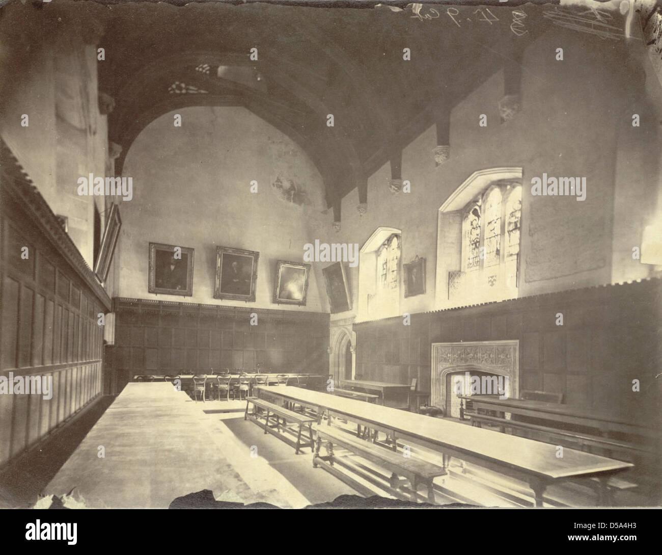 Cambridge. Peterhouse, Dining Hall (Interior, Before Redecorations) - Stock Image