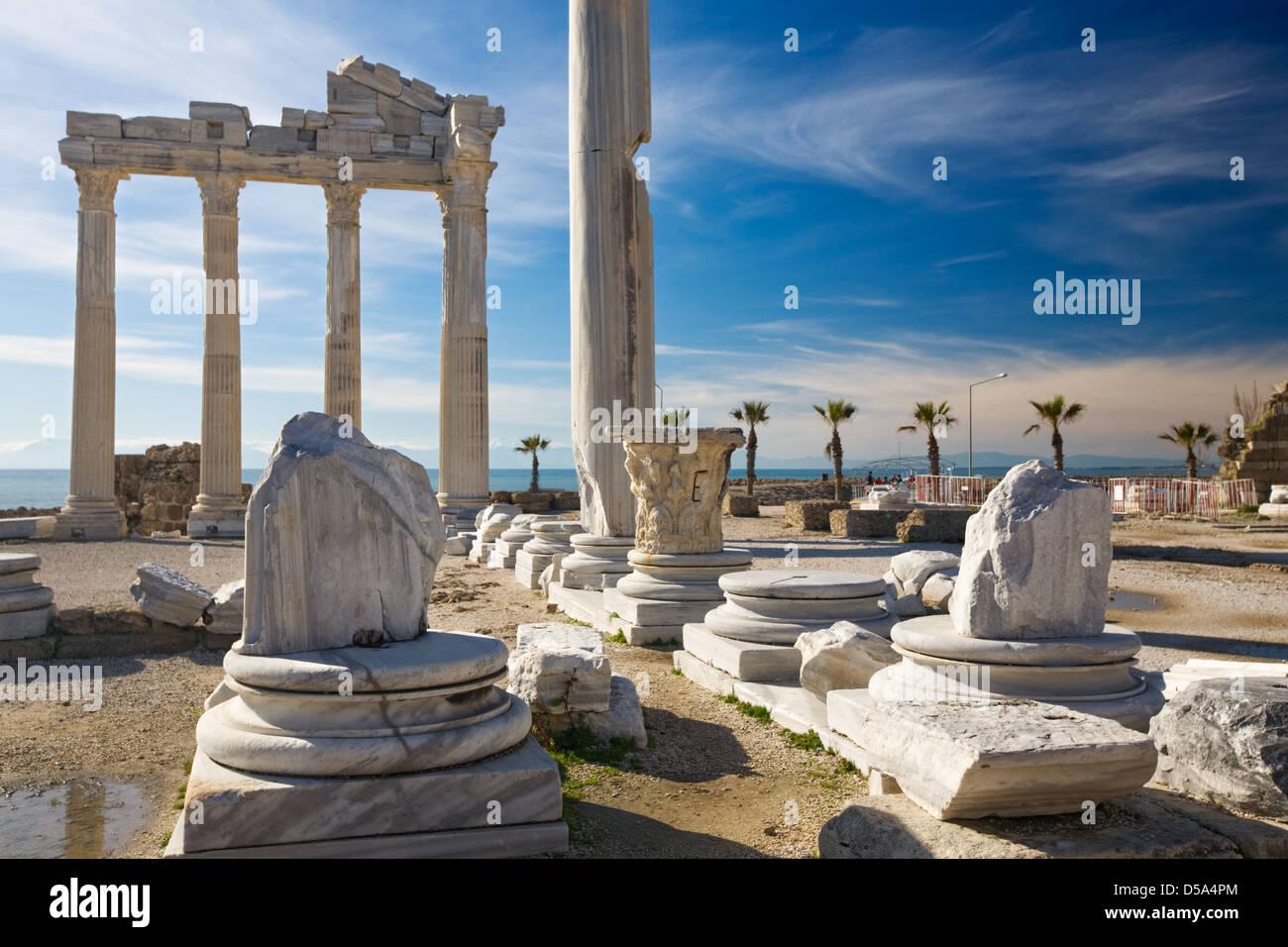 Roman ruins of the Temple of Apollo, Side, Turquoise Coast, Antalya Province, Turkey - Stock Image