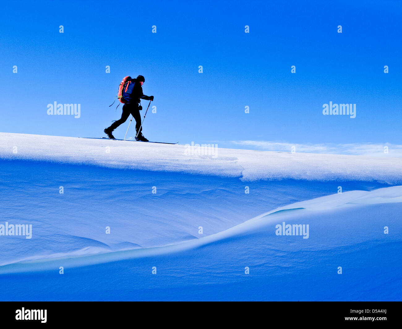 Skier on top of a cornice, Ski touring in Northern Norway - Stock Image