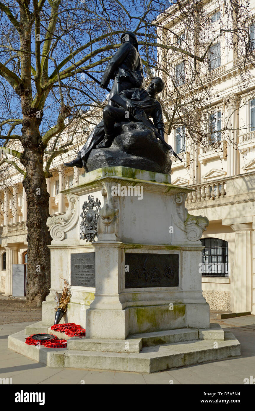 The Mall and the Royal Marines Memorial and sculpture in front of Carlton House Terrace Stock Photo
