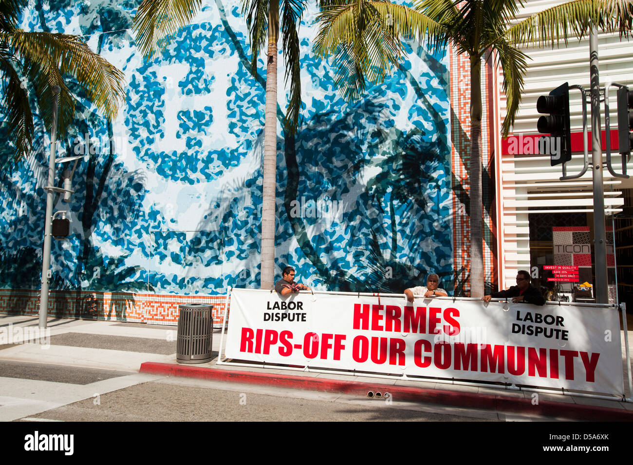 labor protest, Beverly Hills, California, United States - Stock Image