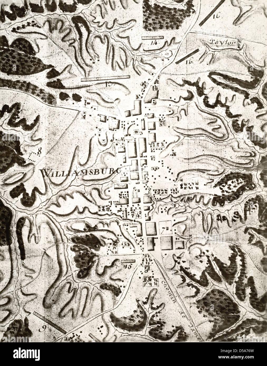 Rochambeau Military Map of Williamsburg, Virginia Stock Photo