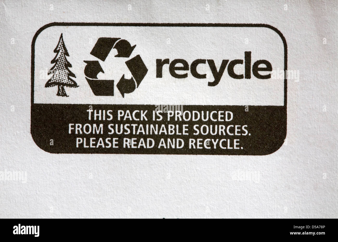 Recycle this pack is produced from sustainable sources please read and recycle - Stock Image