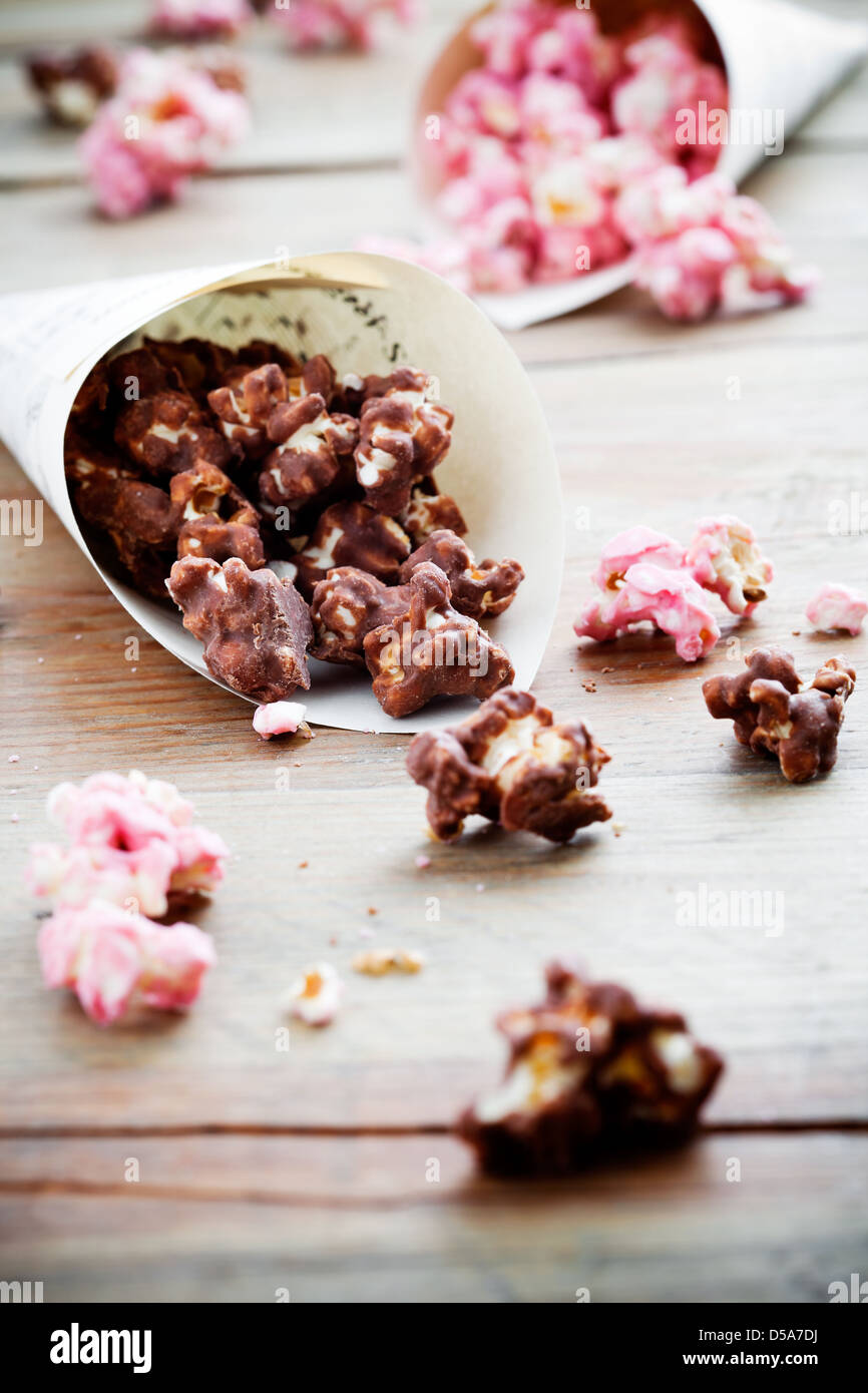 Chocolate pop corn in brown and pink  - Stock Image