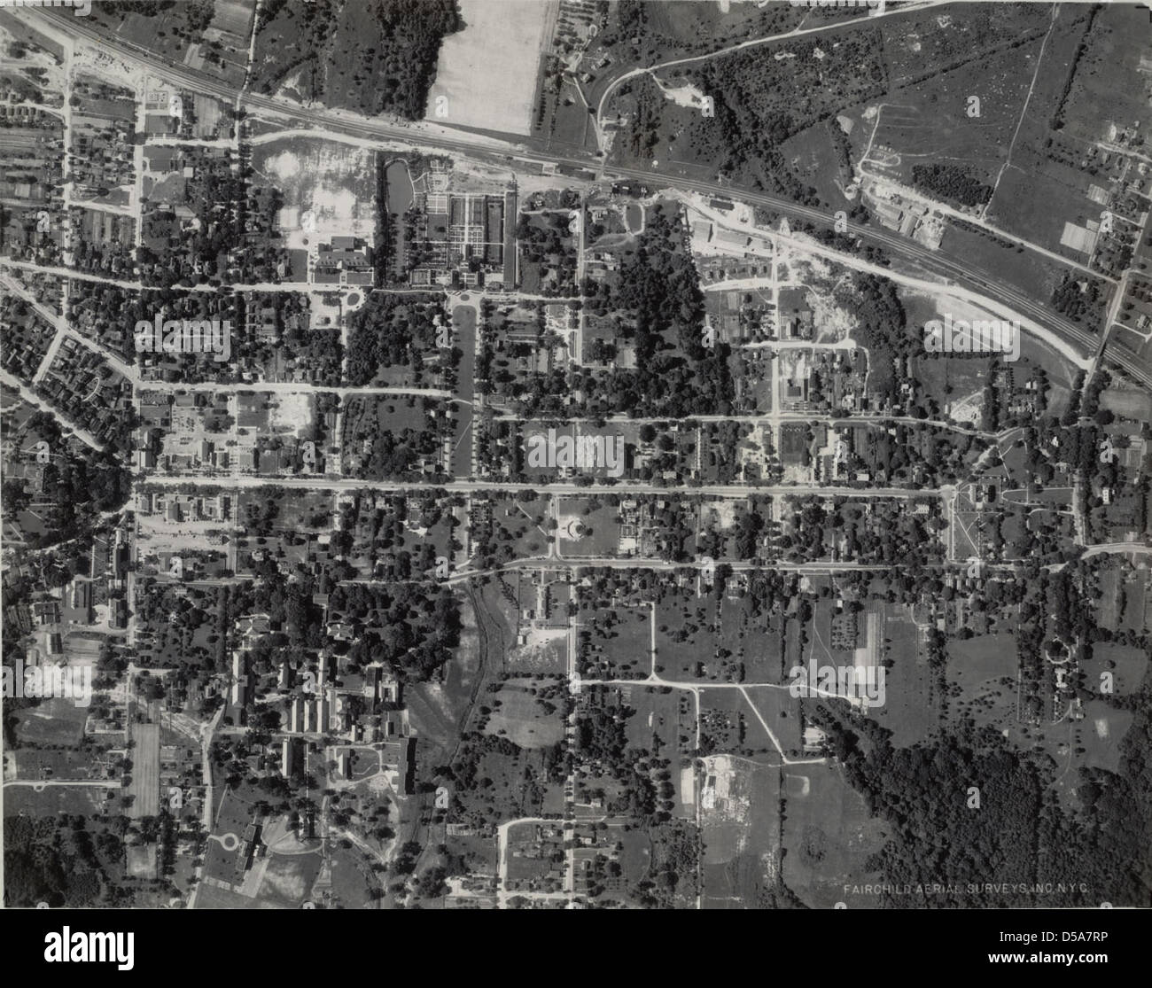 Aerial View of Colonial Williamsburg Stock Photo