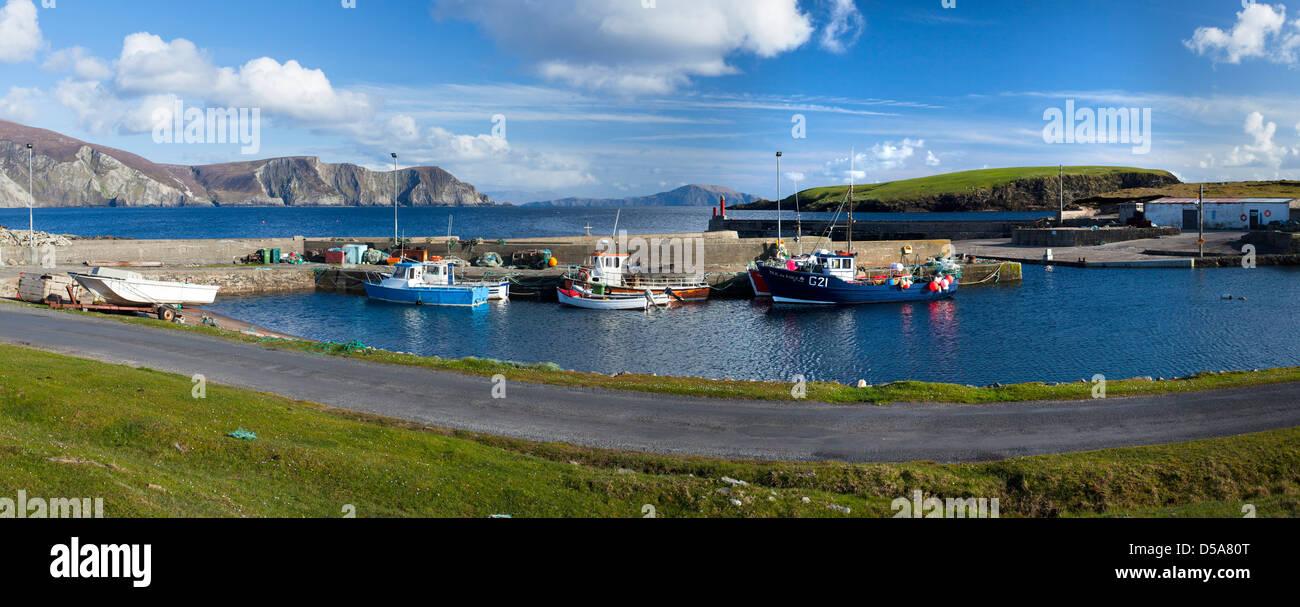 Fishing Boats at Purteen Harbour, Achill Island, Co Mayo, Ireland. Stock Photo