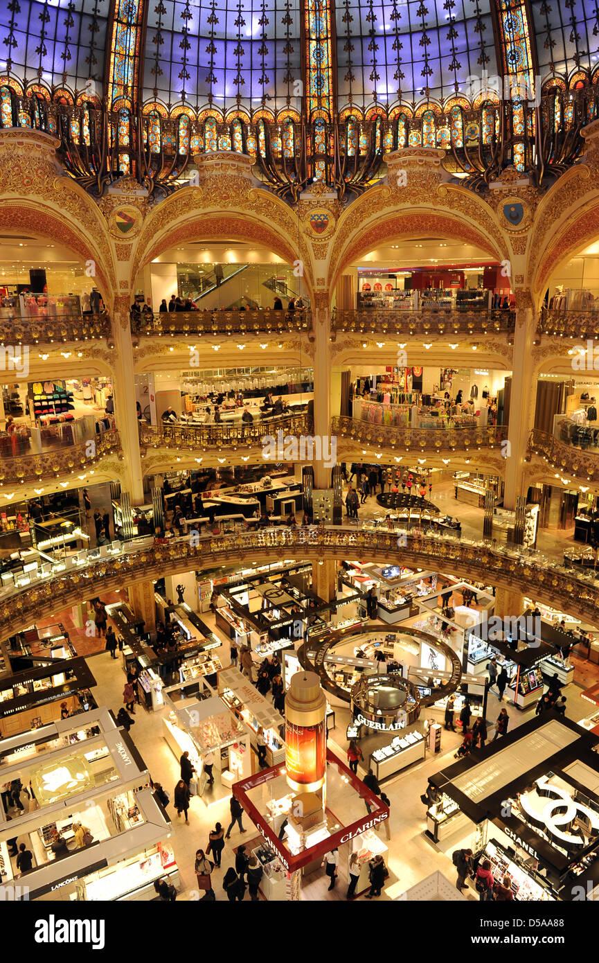 Galeries Lafayette department store in Paris France - Stock Image