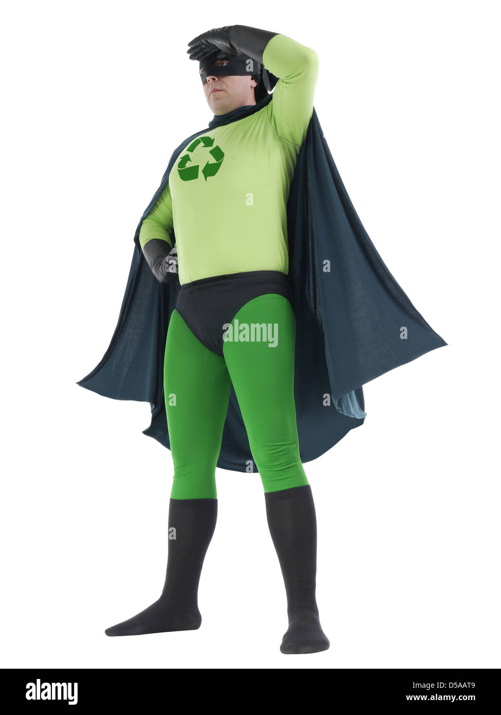 Eco superhero with green recycle arrow symbol on chest looking ahead standing over white background - recycle concept - Stock Image