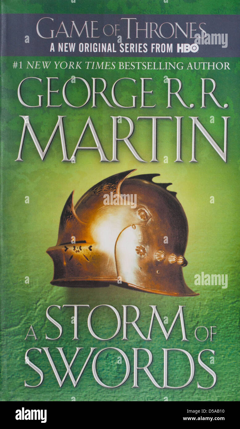 Game Of Thrones Book 3: A Storm Of Swords by George R.R. Martin. Series 3 of the TV show is based on this book. - Stock Image