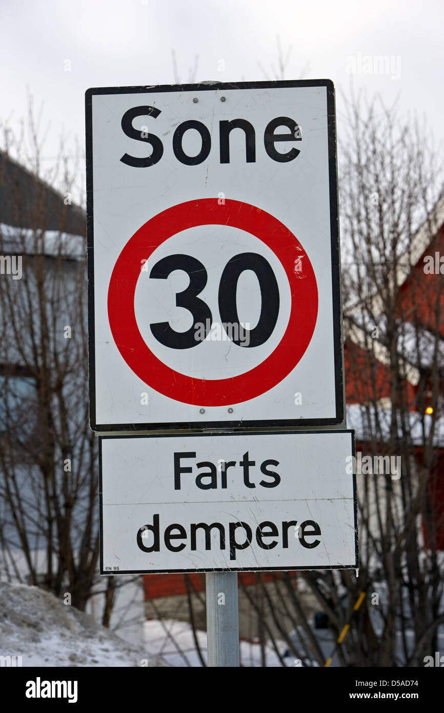 farts dempere bumpy road sign and 30 kph speed limit signs in norwegian kirkenes finnmark norway europe Stock Photo