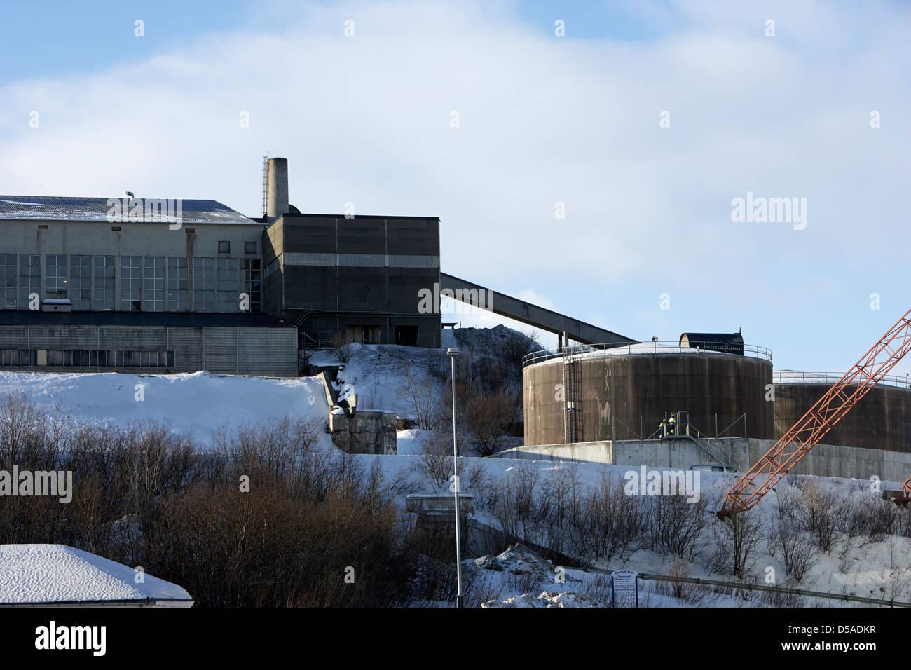 kirkenes iron ore processing separating plant finnmark norway europe - Stock Image