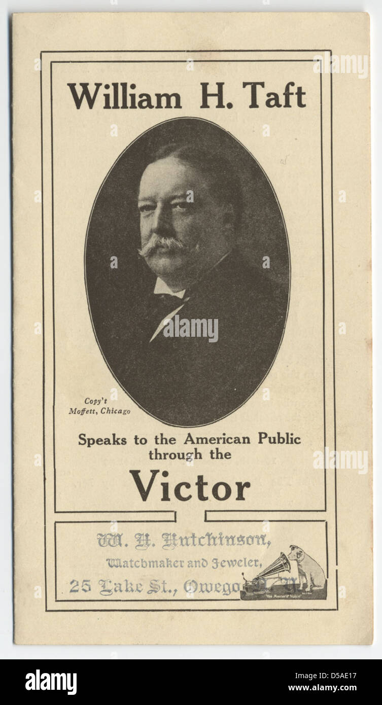 William H. Taft Speaks to the American Public through the Victor - Stock Image