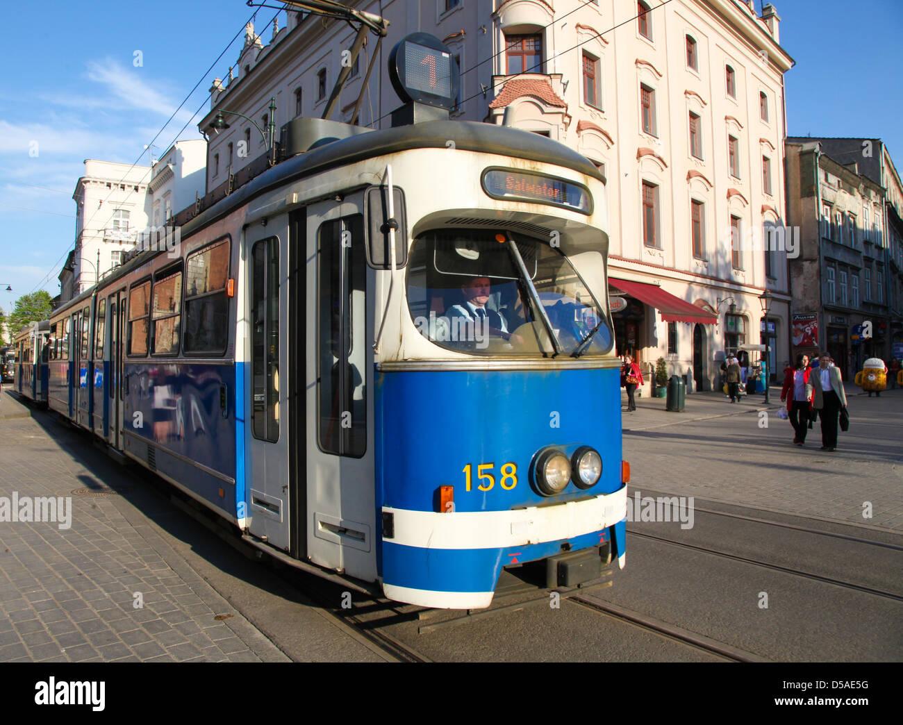 Tram on Franciscanska street, in Krakow, Poland on April 26, 2011. - Stock Image