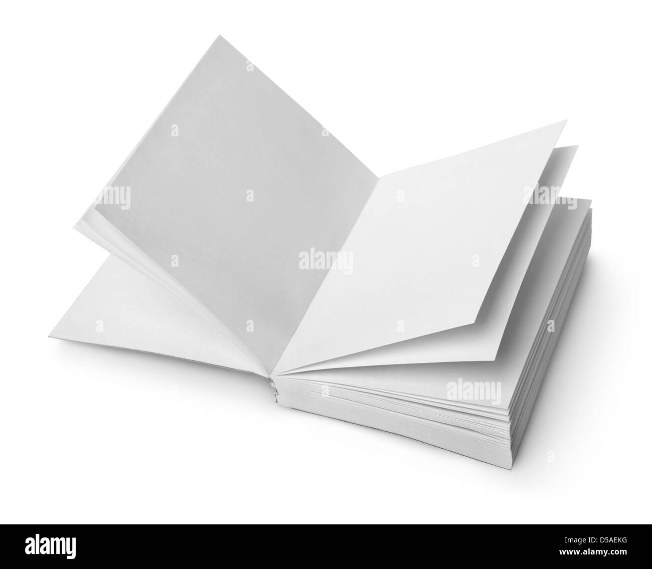 Open book with clean sheets isolated on white background - Stock Image