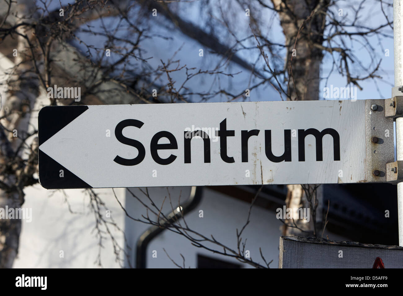 sign for town centre sentrum kirkenes finnmark norway europe - Stock Image
