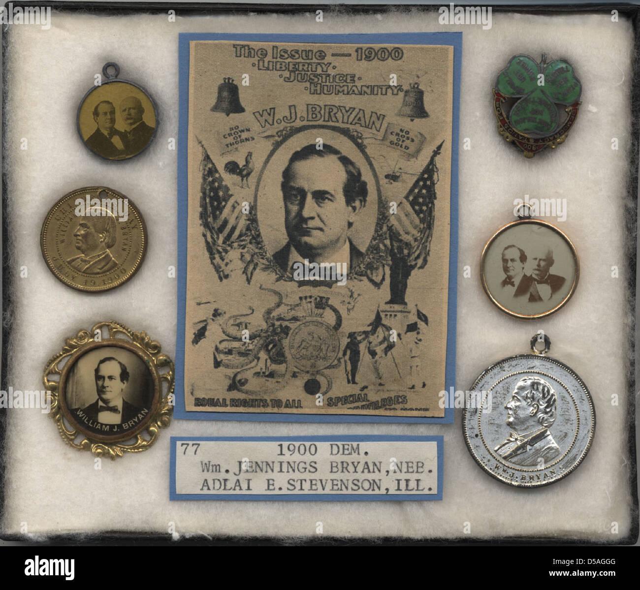 Bryan-Stevenson Campaign Items, ca. 1900 - Stock Image