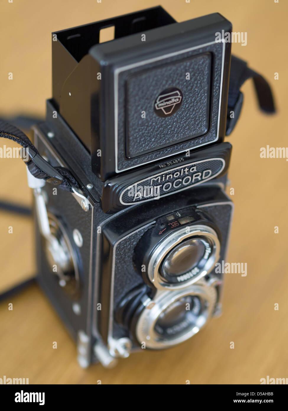 Minolta Autocord Twin Lens Reflex (TLR) old film camera - Stock Image