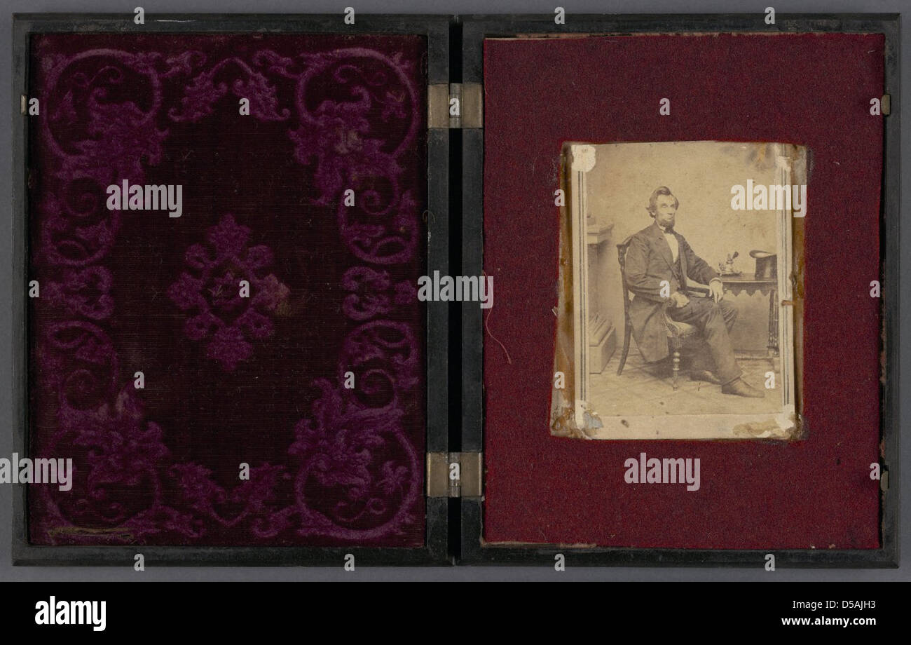 Lincoln Portrait Photograph in Molded Thermoplastic 'Vision of Ezechiel' Case - Stock Image