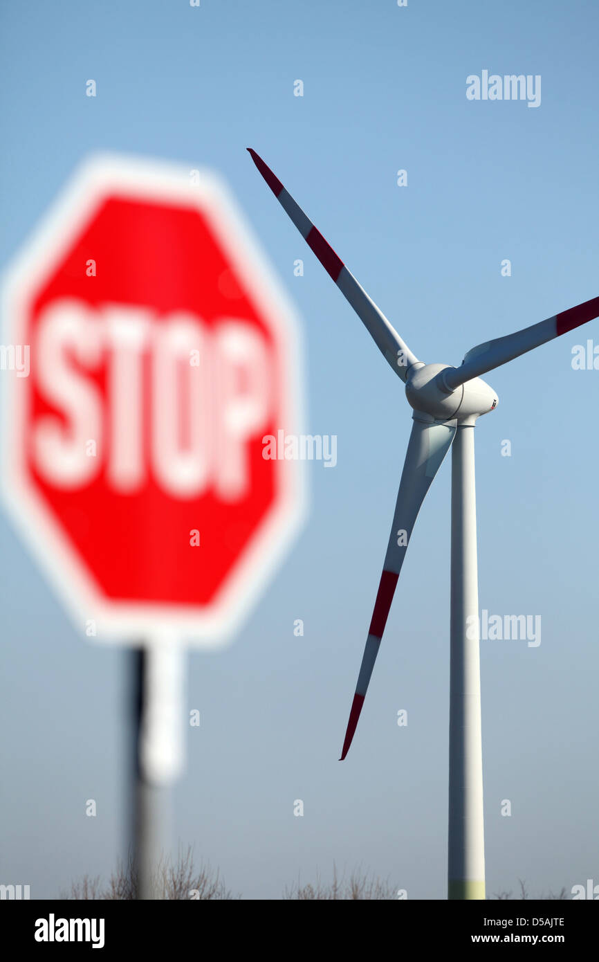 Horstedt, Germany, stop sign in front of a wind turbine - Stock Image