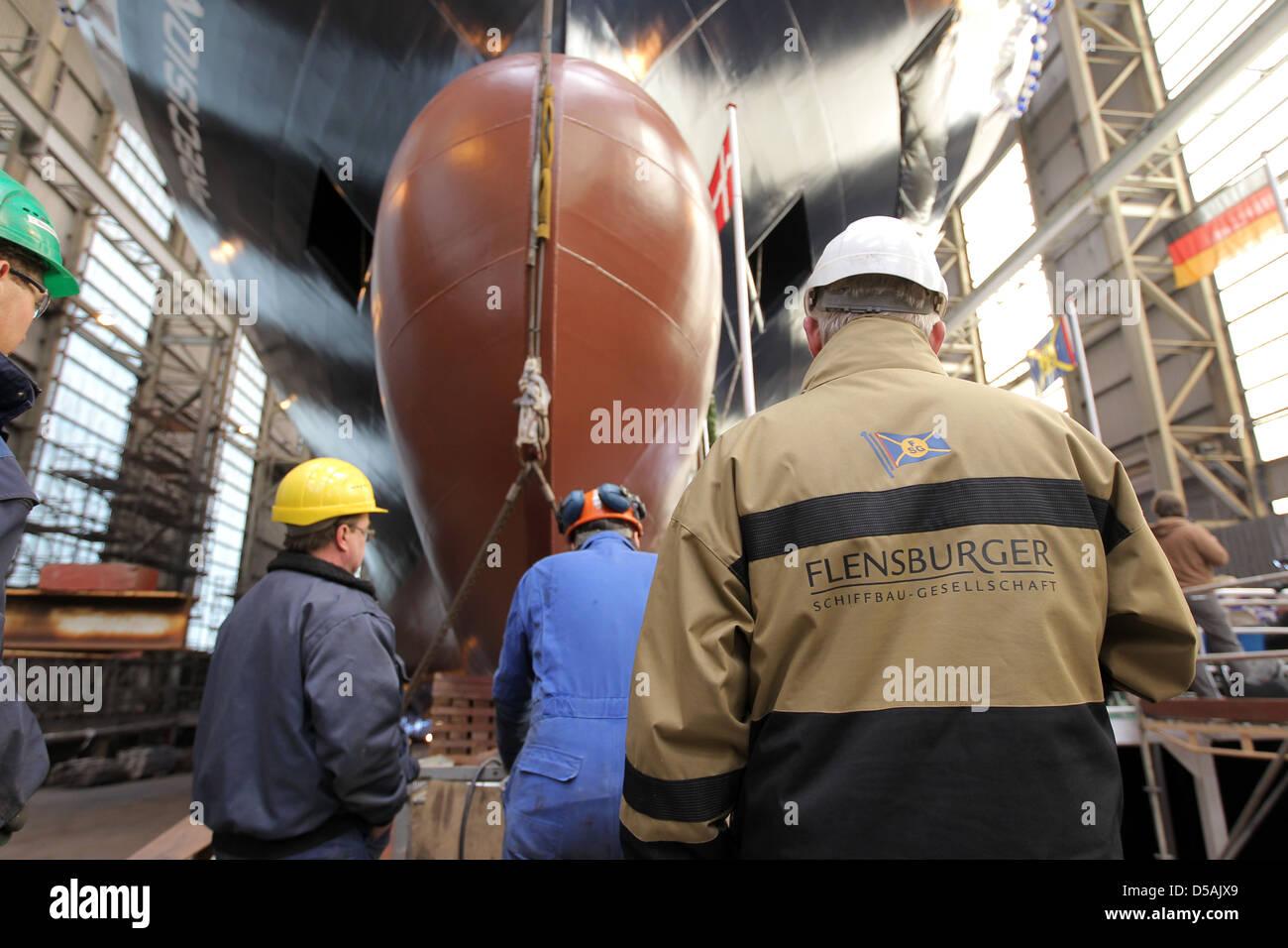 Flensburg, Germany, Flensburg shipbuilding workers Gesellschaft (FSG) accompany a stack overflow - Stock Image